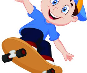 Skateboarding kid vector