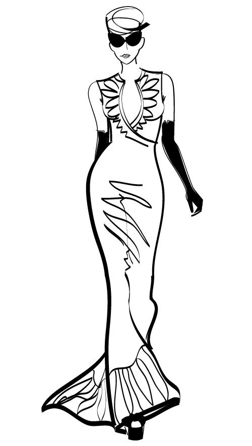 Sketch of an elegant woman vector
