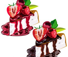 Sketch strawberry chocolate cake vector