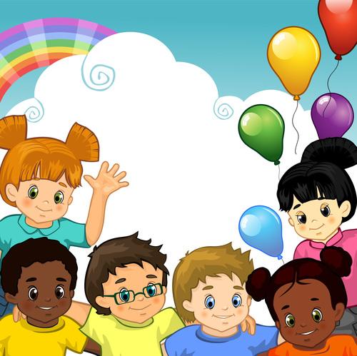 Sky rainbow and happy children vector