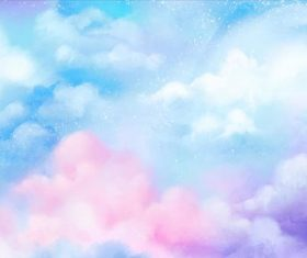 Sky watercolor painting vector