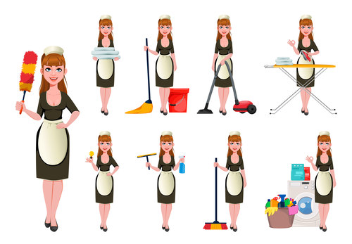 Smiling cleaning lady cartoon vector