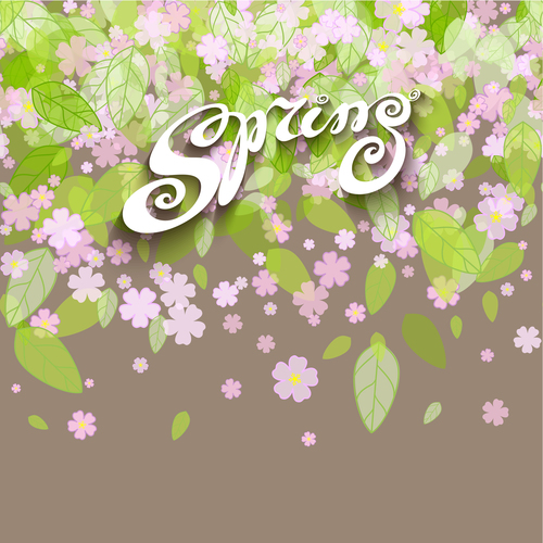 Spring fluttering green leaves and flowers vector background
