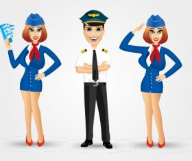 Stewardess and pilot vector