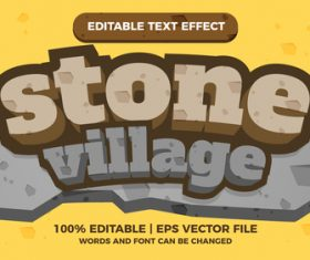 Stone village editable text effect for comic title games vector