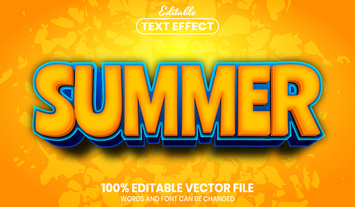Summer font style editable text effect vector