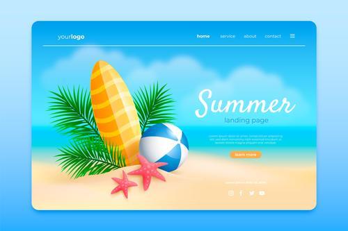 Summer landing page design vector
