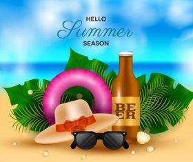 Summer travel supplies background vector