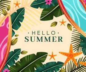 Summer tropical plants background card vector