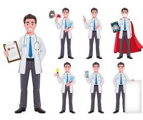 Super doctor cartoon character doctor man vector