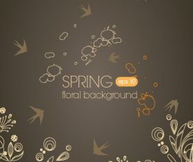 Swallow and flower background vector