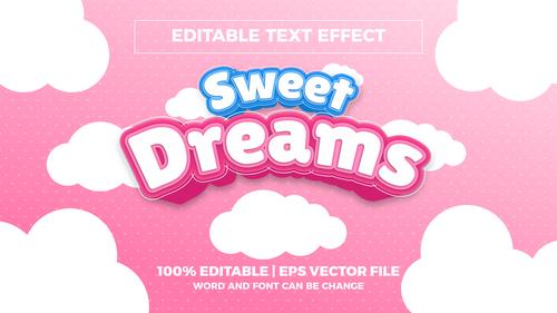 Sweet dreams editable text effect vector