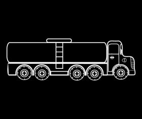 Tank truck black and white silhouette vector