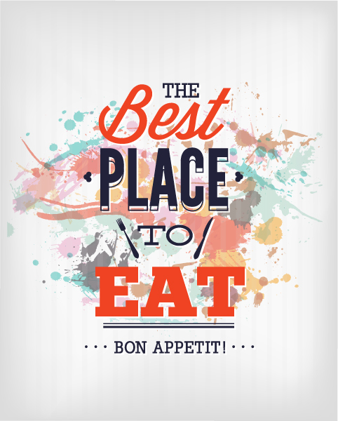 The best place to eat card vector