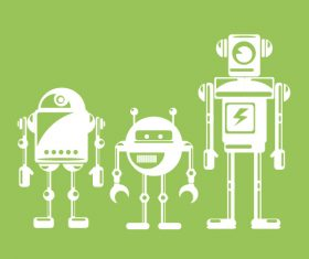 Three robots icon vector