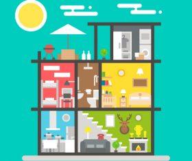 Three-story house design vector