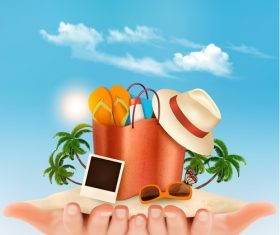 Travel background with palm and beach bag in hands vector