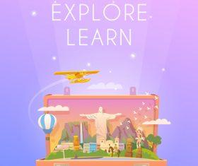 Travel explore learn illustration vector