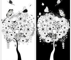 Tree frame background vector