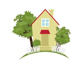 Trees and country house vector