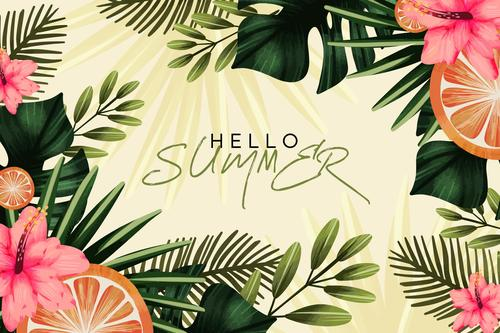 Tropical plants background card vector