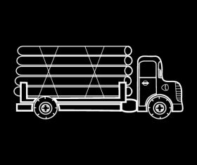 Truck black and white silhouette vector
