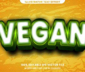 Vegan font style editable text effect vector