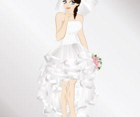 Very beautiful bride vector