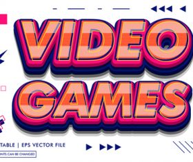 Video games editable text style effect vector