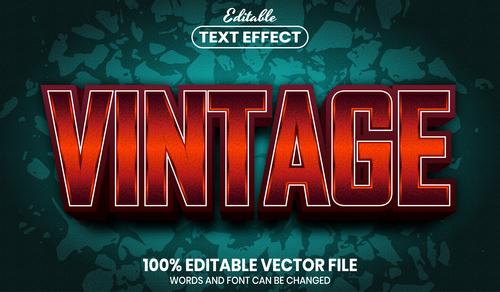 Vintage font style editable text effect vector