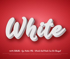 WHITE 3d editable text style effect vector