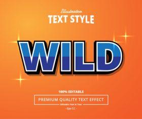 WILD text effect vector
