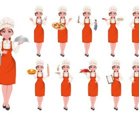 Waitress cartoon vector