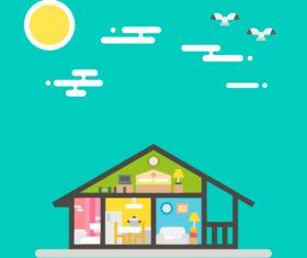 Warm home cartoon vector