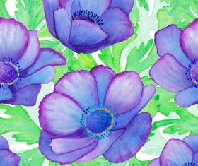 Watercolor flowers seamless background vector