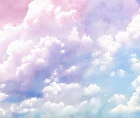 White clouds on the sky watercolor painting vector