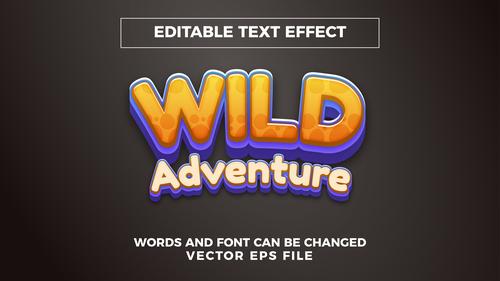 Wild adventure editable text eEffect vector