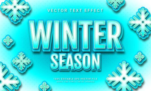 Winter season vector text effect