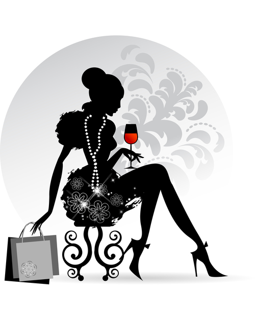 Woman drinking wine silhouette vector
