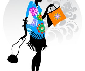 Woman silhouette vector in floral dress