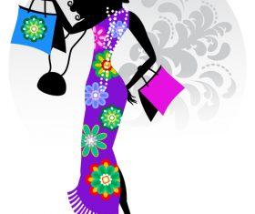 Woman wearing flower cheongsam silhouette vector
