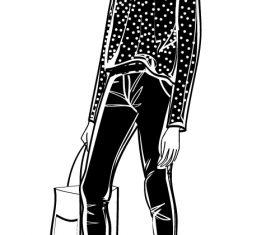 Women with bags sketch vector