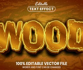 Wood font style editable text effect vector