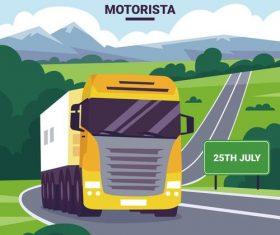 Yellow heavy truck vector