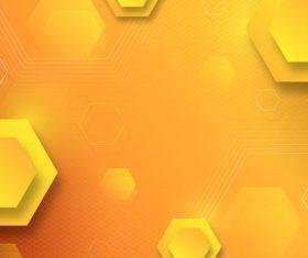 Yellow hexagon background vector