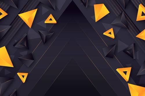 Yellow triangle dark background vector