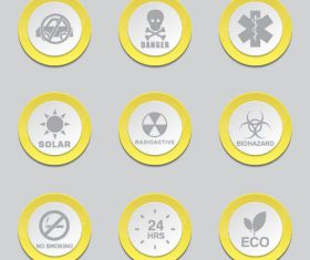 Yellow vector button Icon