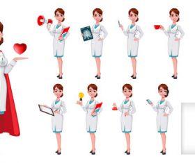 Young beautiful female doctor cartoon vector