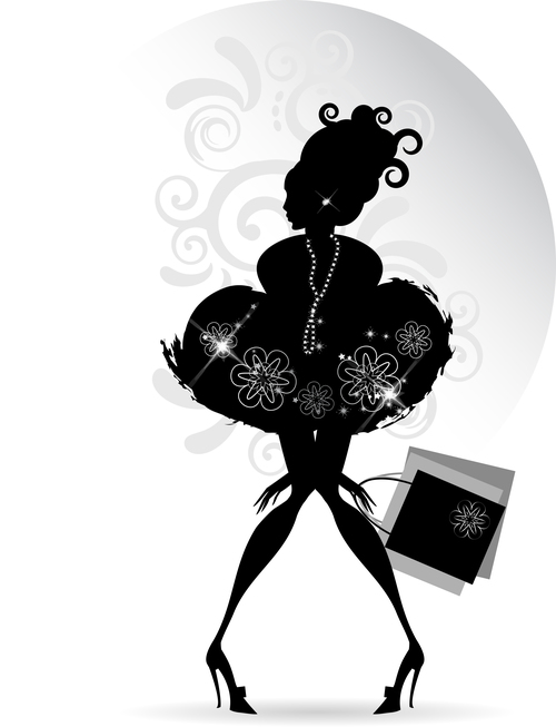 Young girl silhouette vector