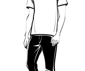 Young man sketch vector